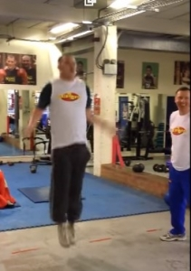 Tom Little, Heavyweight boxer does the National 2 minute Skip2Bfit Championship Challenge